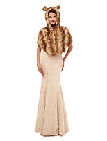 cheap -Sleeveless Shawls Faux Fur Wedding / Party / Evening Women's Wrap With Cap / Solid