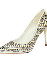 cheap -Women's Heels Stiletto Heel Pointed Toe Sexy Party & Evening Rhinestone Rivet Sequin Solid Colored PU White / Black / Pink