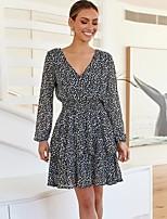 cheap -Women's A-Line Dress Short Mini Dress - Long Sleeve Print Ruffle Print Fall V Neck Casual Daily 2020 Black S M L XL