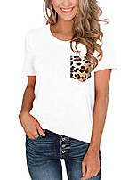 cheap -women& #39;s summer short sleeve round neck loose casual tops basic t-shirt blouses with leopard pocket white xx-large