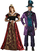 cheap -Queen of Hearts Mad Hatter Cosplay Costume Outfits Group Costume Adults' Men's Cosplay Halloween Halloween Festival / Holiday Polyester Purple / Red Men's Women's Easy Carnival Costumes