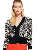 cheap -Women's Basic Knitted Leopard Cheetah Print Pullover Cotton Long Sleeve Sweater Cardigans V Neck Fall Winter Black Yellow Khaki