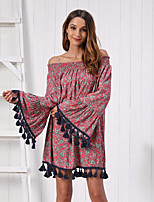 cheap -Women's Shift Dress Knee Length Dress - Long Sleeve Print Tassel Fringe Patchwork Print Fall Off Shoulder Casual Cotton Loose 2020 Wine S M L XL