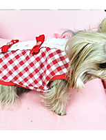 cheap -Dog Harness Dress Plaid / Check Party Cute Christmas Party Dog Clothes Puppy Clothes Dog Outfits Breathable Red Costume for Girl and Boy Dog Fabric XS S M L XL XXL