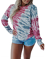 cheap -women tie dye printed pullover tops long sleeve round neck shirts,medium multicolor