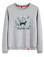 cheap -Women's Sweatshirt Womens Pullover Sweatshirts Black White Pink Cartoon Crew Neck Cotton Cat Cartoon Cute Sport Athleisure Pullover Long Sleeve Breathable Warm Soft Comfortable Everyday Use Causal