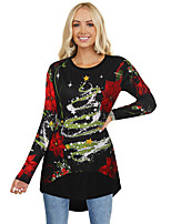 cheap -Women's Christmas Tunic Floral Flower Long Sleeve Print Asymmetric Round Neck Tops Basic Christmas Basic Top Black