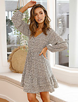 cheap -Women's A-Line Dress Knee Length Dress - Long Sleeve Print Ruffle Ruched Patchwork Fall V Neck Casual Daily Lantern Sleeve Slim 2020 Beige S M L XL