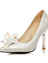 cheap -Women's Heels Pumps Pointed Toe Casual Basic Party & Evening Crystal Solid Colored PU Walking Shoes White