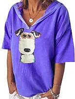 cheap -Women's T-shirt Dog Print V Neck Tops Loose Basic Basic Top Blue Blushing Pink Brown