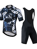 cheap -CAWANFLY Men's Short Sleeve Cycling Padded Shorts Cycling Jersey with Bib Shorts Black Bike Moisture Wicking Sports Mountain Bike MTB Road Bike Cycling Clothing Apparel / Expert / Racing / Stretchy