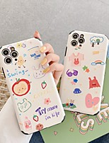 cheap -Case For Apple iPhone 7 8 plus SE 2020 X XS XR XS max  11 11 Pro 11 Pro Max Pattern Back Cover  Cartoon TPU Embossed cute LOVELY word phrase Flower