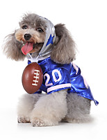cheap -Dog Halloween Costumes Costume Shirt / T-Shirt Letter & Number Casual / Sporty Cool Christmas Party Dog Clothes Breathable Blue Costume Polyester S M L XL