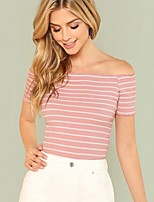 cheap -Women's Holiday T-shirt Striped Off Shoulder Tops Slim Basic Basic Top Blushing Pink / Going out