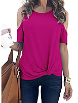 cheap -knot twisted shirt for women rose cold shoulder tops casual solid color round neck xl