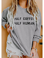cheap -Women's Daily Pullover Sweatshirt Letter Casual Basic Hoodies Sweatshirts  Cotton Slim Oversized Light gray