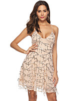 cheap -Women's A-Line Dress Short Mini Dress - Sleeveless Solid Color Backless Sequins Tassel Fringe Summer V Neck Sexy Party Club 2020 Gold S M L XL XXL