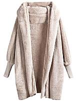 cheap -women pocket front dolman sleeve faux fur cardigan coat for winter grey m