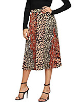 cheap -women's casual leopard print a line long flared skirt multicolor