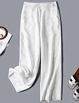 cheap -Women's Daily Weekend Loose Cotton Chinos Pants Solid Colored White Blushing Pink S M L