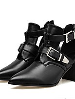 cheap -Women's Boots Wedge Heel Pointed Toe Casual Daily Solid Colored PU Booties / Ankle Boots Black