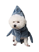 cheap -Dog Cat Halloween Costumes Costume Shirt / T-Shirt Animal Shark Cute Cool Christmas Party Dog Clothes Warm Blue Costume Plush S M L XL XXL