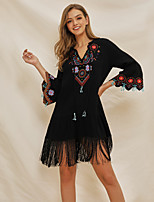 cheap -Women's Swing Dress Knee Length Dress - 3/4 Length Sleeve Floral Embroidered Ruched Tassel Fringe Summer V Neck Casual Flare Cuff Sleeve Cotton Slim 2020 Black S M L XL