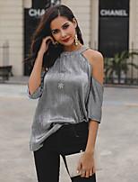 cheap -Women's Blouse Shirt Solid Colored Halter Neck Tops Basic Basic Top Black