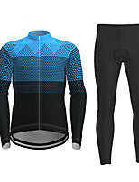 cheap -21Grams Men's Long Sleeve Cycling Jersey with Tights Winter Polyester Black / Yellow Red Blue Novelty Bike Jersey Tights Clothing Suit Breathable Quick Dry Moisture Wicking Back Pocket Sports Novelty