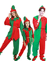cheap -Santa Claus Cosplay Costume Outfits Group Costume Kid's Adults' Men's Cosplay Halloween Halloween Festival / Holiday Polyester Red Men's Women's Easy Carnival Costumes / Top / Pants / Belt / Shoes