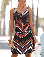 cheap -Women's Shift Dress Knee Length Dress - Sleeveless Print Summer Fall V Neck Casual 2020 Black S M L XL XXL