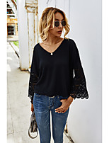 cheap -Women's T-shirt Solid Colored Lace Trims V Neck Tops Loose Basic Fall White Black