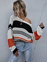 cheap -Women's Basic Striped Pullover Long Sleeve Sweater Cardigans Crew Neck Round Neck Spring Fall Orange