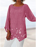 cheap -Women's Beach Tunic Floral Solid Colored Long Sleeve See Through Patchwork Print Round Neck Tops Loose Beach Basic Top White Blue Red