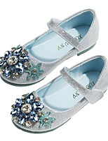 cheap -Girls' Flats Flower Girl Shoes Leather Sequins Little Kids(4-7ys) / Big Kids(7years +) Walking Shoes Rhinestone Silver Spring / Summer