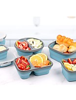 cheap -Collapsible Silicone Food Storage Containers with Plastic Lids - 1pc or A Set Small and Large Collapsible Meal Prep Container for Kitchen or Kids Lunch Boxes - Microwave and Freezer Safe