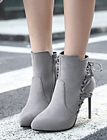 cheap -Women's Boots Stiletto Heel Pointed Toe Basic Daily Lace-up Solid Colored Nubuck Booties / Ankle Boots Black / Gray