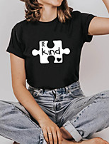 cheap -Women's Tee / T-shirt Cartoon Crew Neck Letter Printed Sport Athleisure T Shirt Short Sleeves Breathable Soft Comfortable Plus Size Everyday Use Exercising General Use