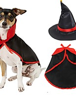 cheap -Dog Cat Costume Outfits Hats, Caps & Bandanas Solid Colored Cosplay Wrap Included Dog Clothes Black / Red Costume Fabric S M L