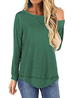 cheap -Women's Plus Size Blouse Solid Colored Long Sleeve Round Neck Tops Cotton Basic Basic Top Black Blue Fuchsia