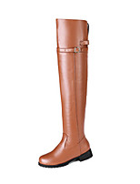 cheap -Women's Boots Wedge Heel Round Toe Classic Daily Solid Colored PU Over The Knee Boots Black / Brown / Beige