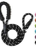cheap -durable dog leash for medium large dogs, sturdy and premium quality reflective leashes, supports strong pulling, comfortable padded handle, slip rope lead for walking and training black