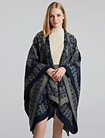 cheap -Women's Cloak / Capes Regular Plants Daily Basic Black Blue Wine One-Size