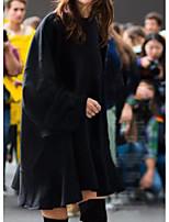 cheap -Women's A-Line Dress Short Mini Dress - Long Sleeve Solid Color Ruffle Summer Fall Work Casual Loose 2020 Black Beige Gray L XL XXL 3XL 4XL