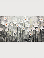 cheap -Oil Painting Paint Handmade Abstract White Flowers Canvas Art Modern Art with Stretcher Ready to Hang With Stretched Frame