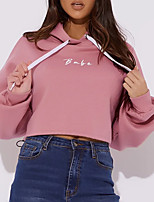 cheap -Women's Hoodie Crop Top Hoodie Solid Color Letter Printed Sport Athleisure Pullover Long Sleeve Warm Soft Oversized Comfortable Everyday Use Exercising General Use