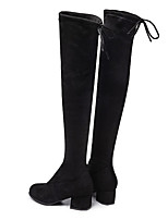 cheap -Women's Boots Wedge Heel Round Toe Sexy Daily Solid Colored Elastic Fabric Over The Knee Boots Black