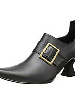cheap -Women's Boots Flare Heel Pointed Toe Vintage Daily Solid Colored PU Booties / Ankle Boots Black