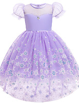 cheap -Elsa Dress Cosplay Costume Girls' Movie Cosplay Halloween Purple Dress Christmas Halloween Carnival Polyester / Cotton