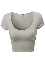 cheap -basic solid scoop neck slim fit short sleeves crop tops neon pink s